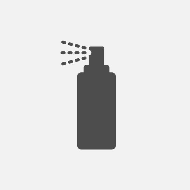 flasche spray symbol isoliert auf weißem hintergrund. vektor-illustration. - haarsprays stock-grafiken, -clipart, -cartoons und -symbole