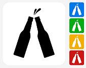 Bottle Toast Icon Flat Graphic Design