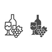Bottle, wine glass and bunch of grapes line and solid icon. Wine with wineglass and grape outline style pictogram on white background. Winery signs for mobile concept and web design. Vector graphics