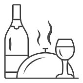 Bottle, wine glass and food on tray thin line icon, Romantic dinner concept, restaurant dinner service sign on white background, Bottle of wine and tray with lid icon in outline. Vector graphics