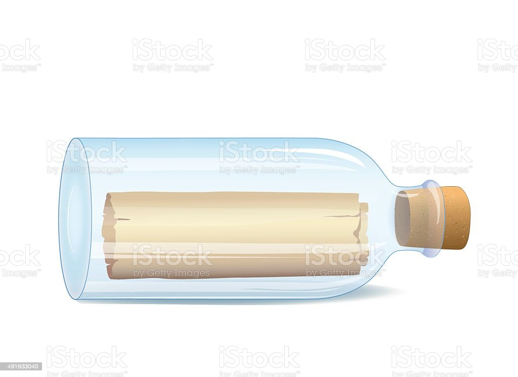 Bottle with a message vector art illustration