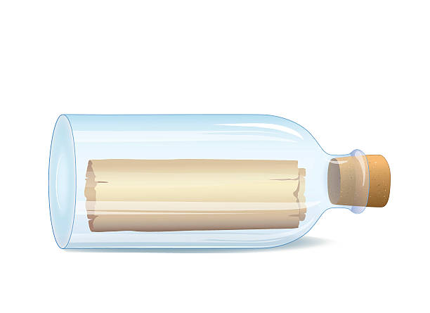 stockillustraties, clipart, cartoons en iconen met bottle with a message - newspaper beach