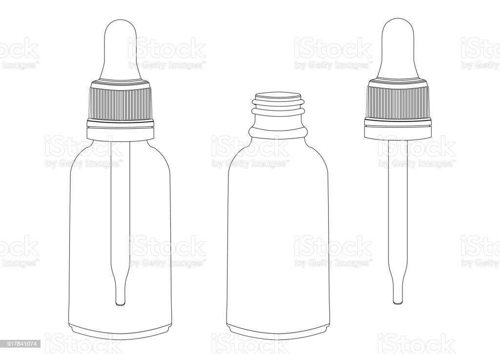 Ilustración de Botella Con Una Pipeta Vector Esquema Dibujo Contorno ...