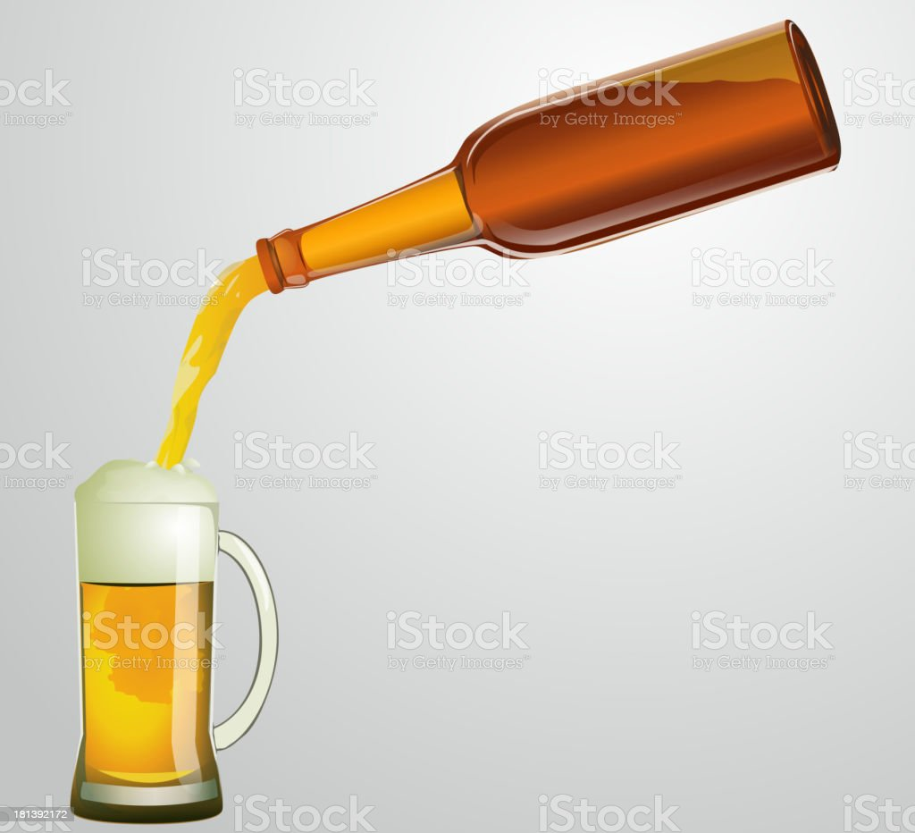 bottle with beer and mug vector art illustration