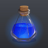 Bottle with blue potion. Game icon of magic elixir. Bright design for app user interface. Magic, mana, intellect, breathing, clarity, flight, sleeping. Vector illustration. Icons Collection.