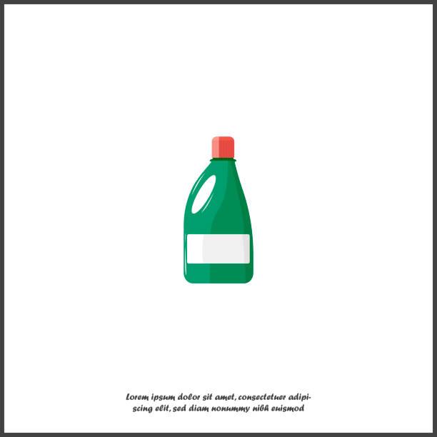 flasche mit einer chemischen substanz vektor icon. flasche mit reinigungsmittel, bleichmittel auf weißem hintergrund isoliert. - weichspüler stock-grafiken, -clipart, -cartoons und -symbole