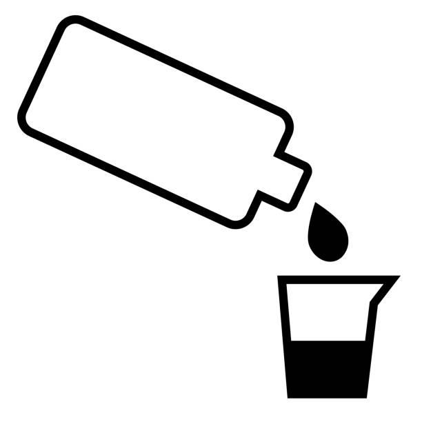 illustrazioni stock, clip art, cartoni animati e icone di tendenza di bottle with drop and jar - dose