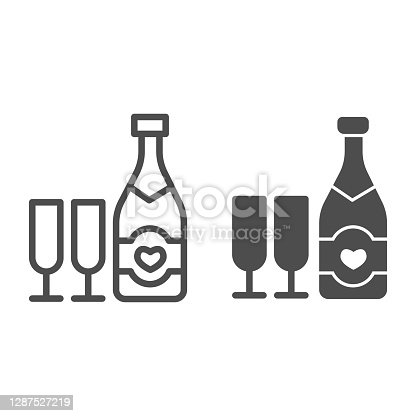 Bottle with heart and glass of champagne line and solid icon, valentine day concept, sparkling wine in two glasses sign on white background, alcohol for holiday icon in outline style. Vector graphics