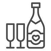 Bottle with heart and glass of champagne line icon, valentine day concept, sparkling wine in two glasses sign on white background, alcohol for holiday icon in outline style. Vector graphics