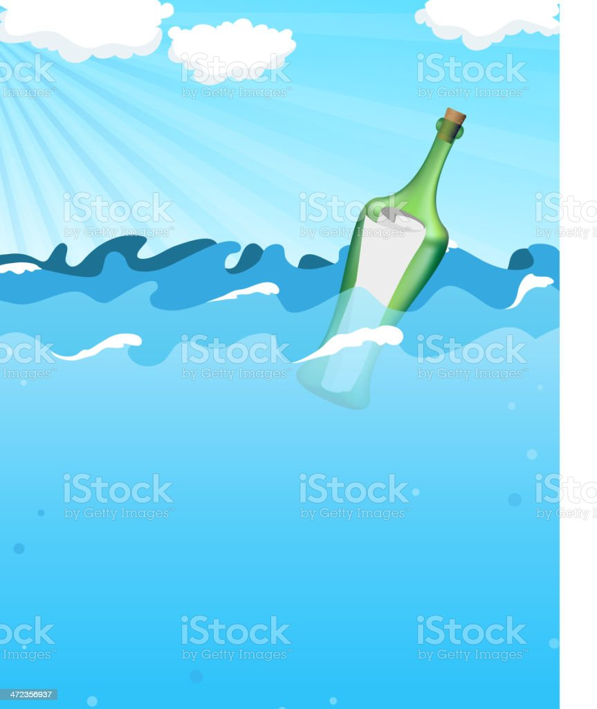 Bottle with help message royalty-free bottle with help message stock vector art & more images of blue