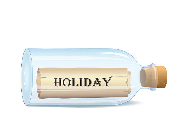 "stockillustraties, clipart, cartoons en iconen met bottle with ""holiday""  message - newspaper beach"