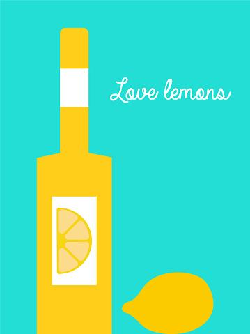 Bottle with lemon drink and lemon illustration, lemon alcoholic drink