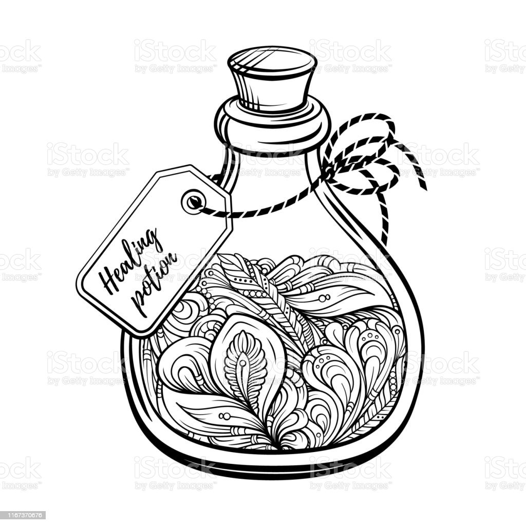 Bottle with magic calming potion. Black and white vector graphic. Antistress coloring page. Bottle with magic calming potion. Black and white vector graphic. Antistress coloring page. Abstract stock vector