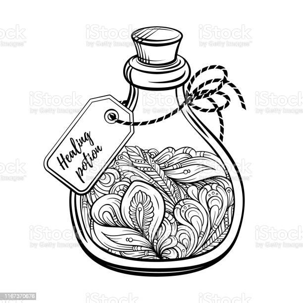 Bottle With Magic Calming Potion Black And White Vector Graphic Antistress Coloring Page Stock Illustration - Download Image Now