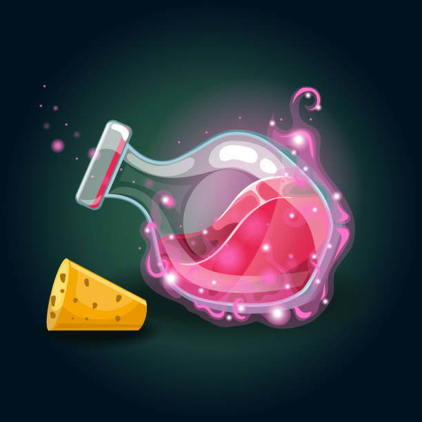 Bottle with magic smog and elixir Bottle with magic smog and elixir. Game design illustration potion stock illustrations