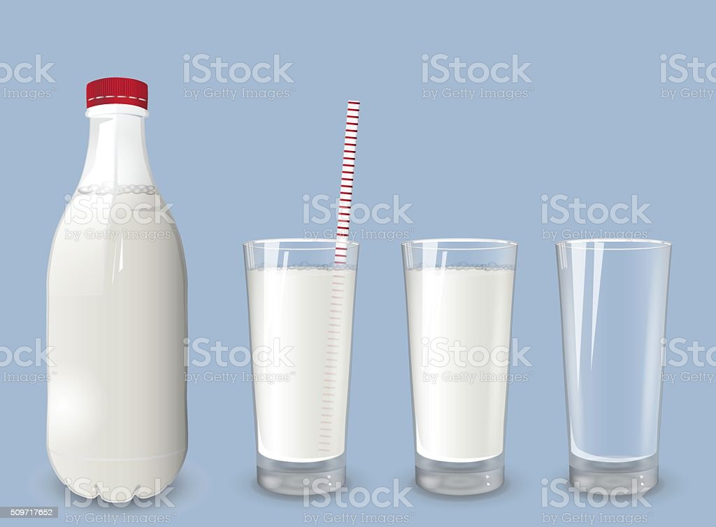 Plastic bottle with milk and red cap. A set of glasses with milk.