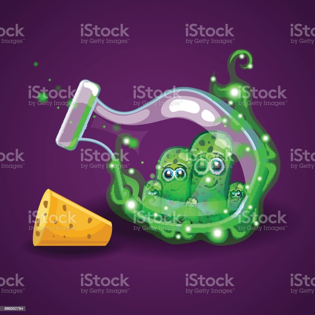Bottle with monsters in magic smoke vector art illustration