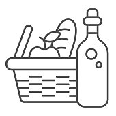 Bottle with picnic basket thin line icon, summer time concept, Wicker picnic basket sign on white background, basket with food and wine icon in outline style for mobile and web. Vector graphics