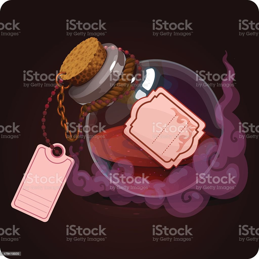 bottle with red water vector art illustration