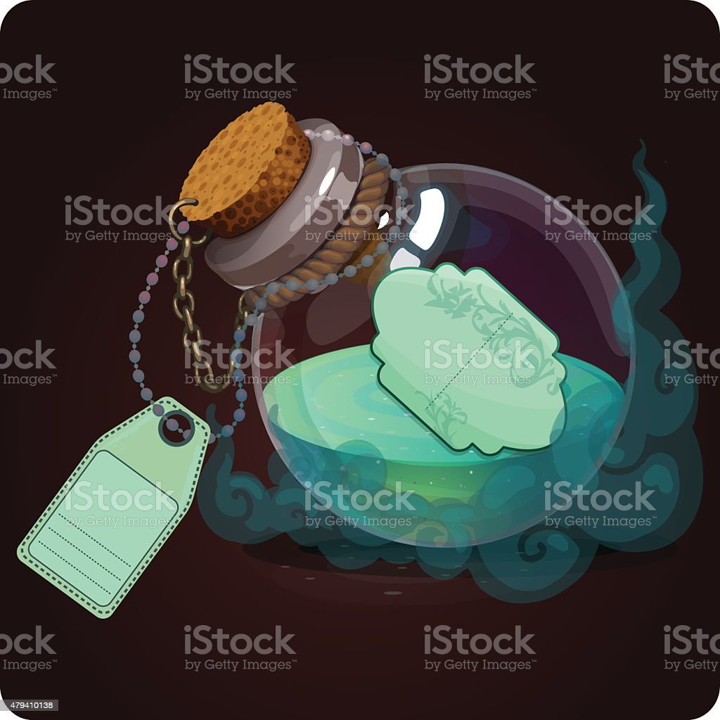 bottle with turquoise water vector art illustration