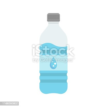 Icon of a bottle with water. Bottle with water for sports and training, travel. Vector illustration.