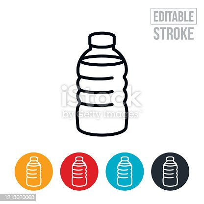 An icon of a water bottle full of water. The icon includes editable strokes or outlines using the EPS vector file.