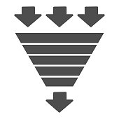 istock Bottleneck chart solid icon. Consumption pyramid, funnel diagram symbol, glyph style pictogram on white background. Benchmarking sign for mobile concept and web design. Vector graphics. 1214108225