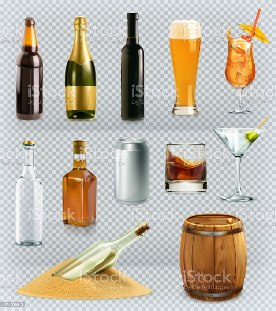 Bottles and glasses alcohol drink. 3d vector icons set vector art illustration