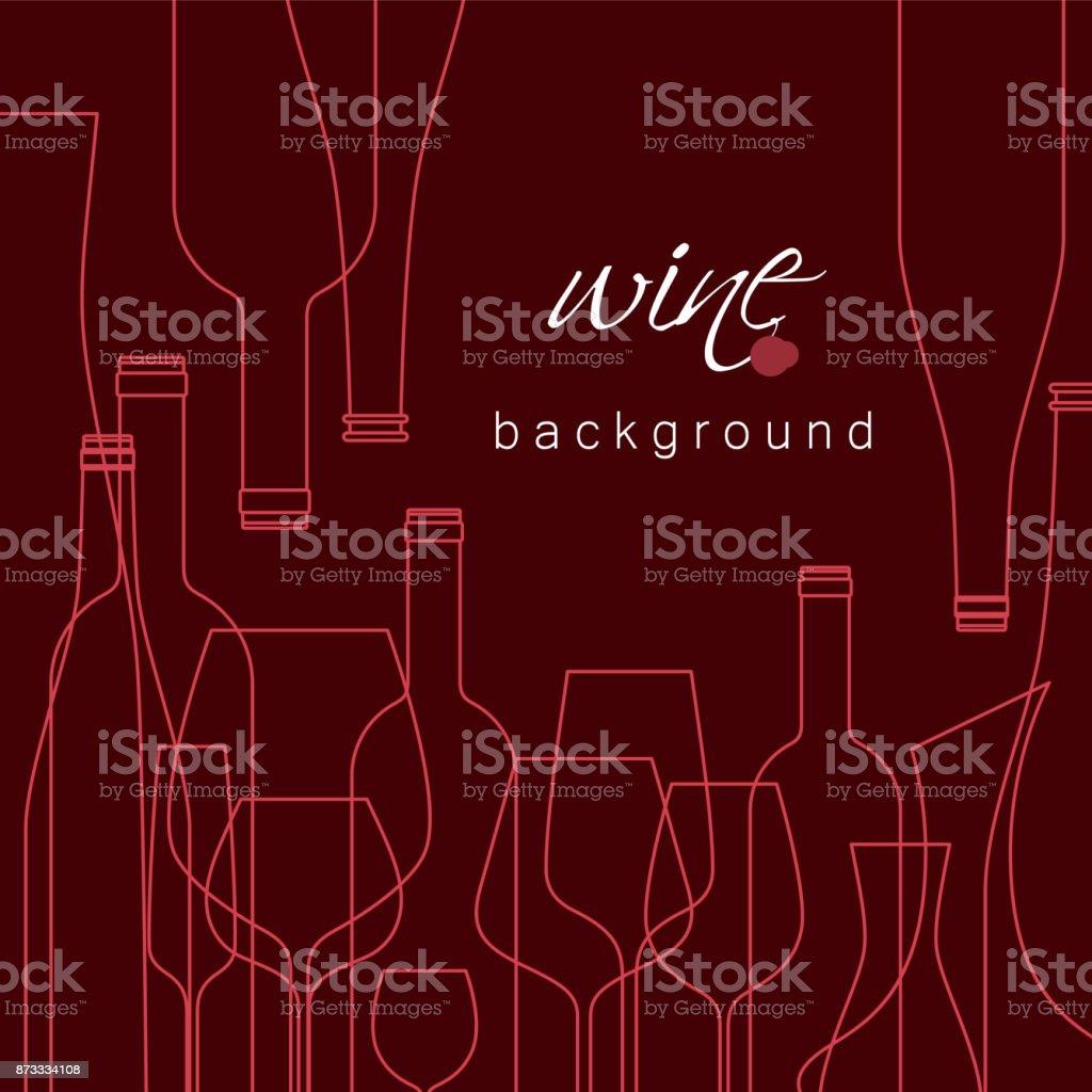 Bouteilles et les verres pour le vin. Fond de vecteur pour menu, dégustation, carte des vins. Illustration avec des icônes de la ligne est découpée avec un masque. - Illustration vectorielle