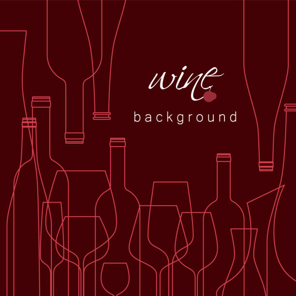 bottles and glasses for wine. vector background for menu, tasting, wine card. illustration with line icons is cropped with a mask. - alcohol drink silhouettes stock illustrations