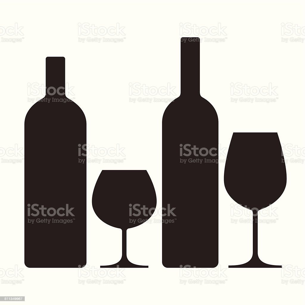 Bottles and glasses of alcohol vector art illustration