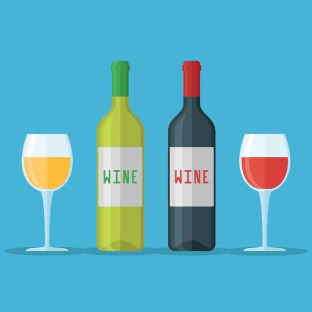 bildbanksillustrationer, clip art samt tecknat material och ikoner med flaskor och glas rött och vitt vin. platt stil vektorillustration. - vitt vin glas