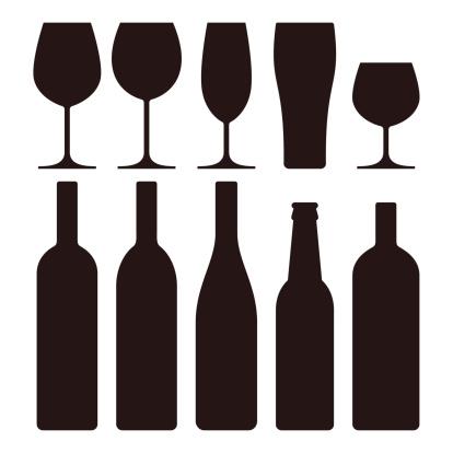 Bottles and glasses set