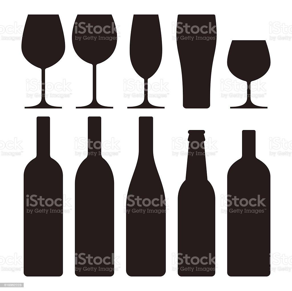 Juego de vasos y botellas - ilustración de arte vectorial