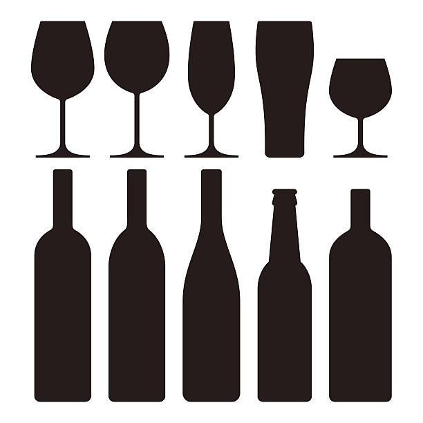 bottles and glasses set - alcohol drink silhouettes stock illustrations