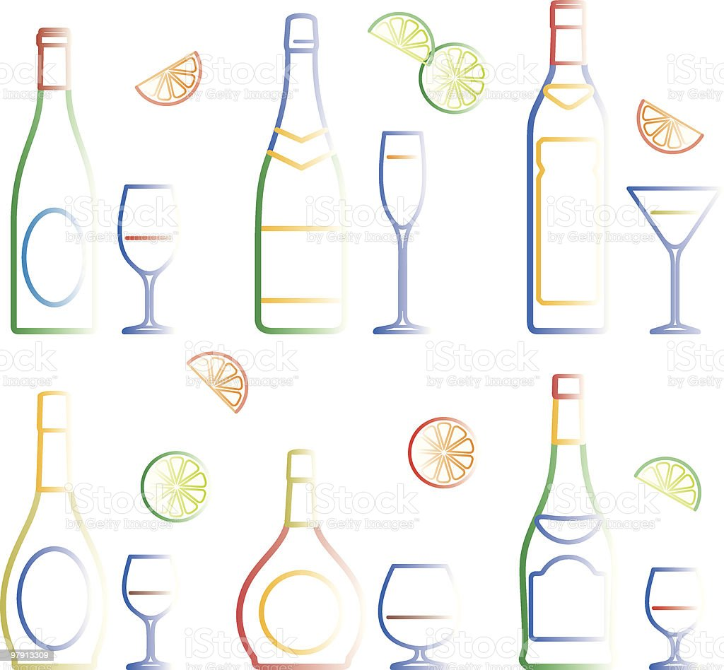 Bottles and glasses royalty-free bottles and glasses stock vector art & more images of alcohol