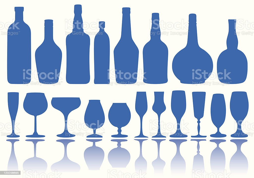 bottles and glasses, vector royalty-free stock vector art