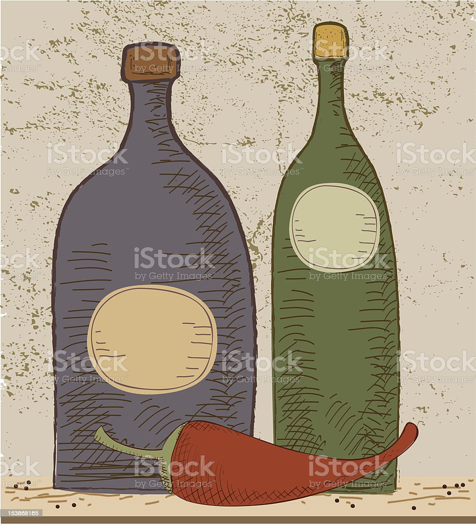 Bottles and Pepper At Grunge Background royalty-free bottles and pepper at grunge background stock vector art & more images of alcohol