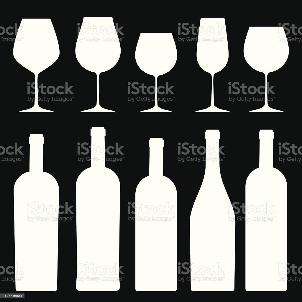 Bottles and wineglasses. vector art illustration