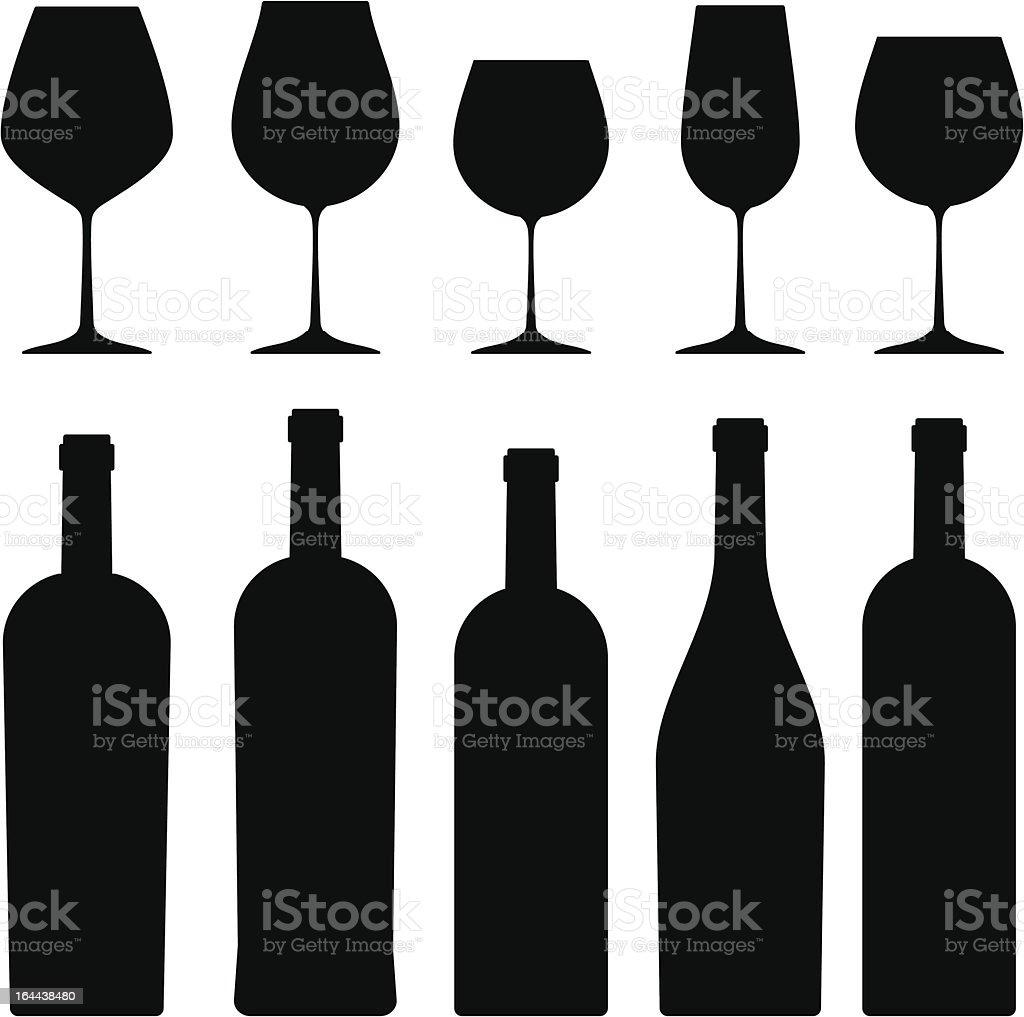 Bouteilles et verres à vin et tire. - Illustration vectorielle