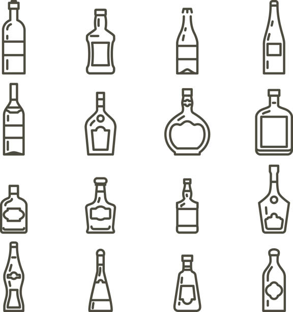 Bottles different types of alcohol icons set vector art illustration
