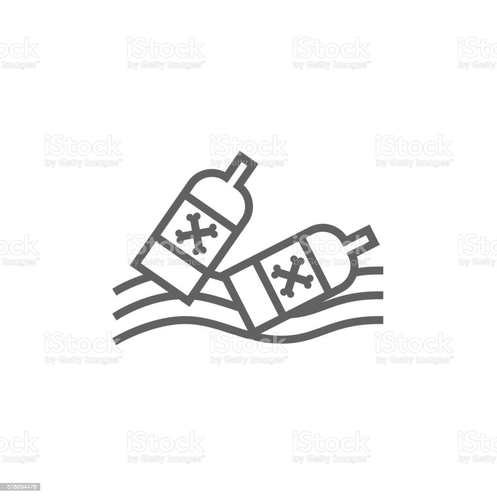Bottles floating in water line icon vector art illustration