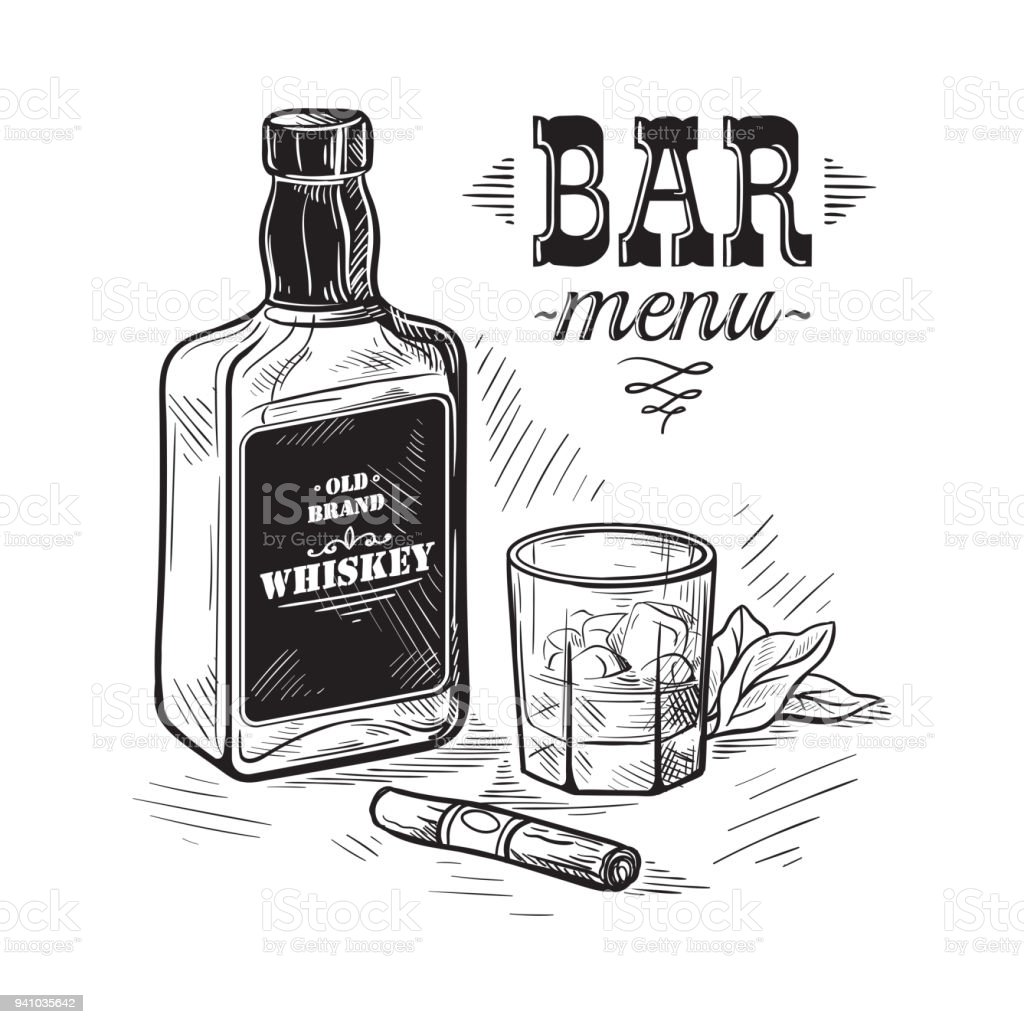 bottles for alcohol sketch vector art illustration