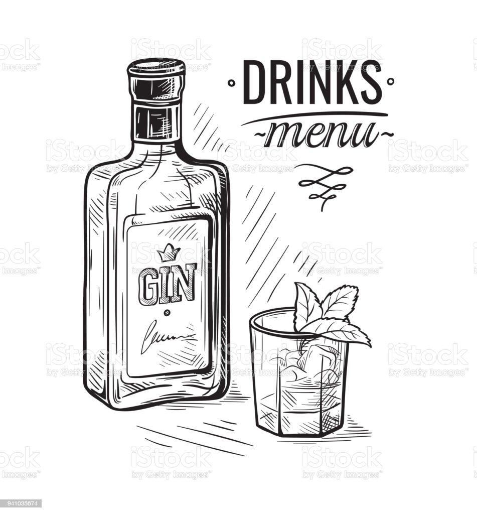 bottles for alcohol sketch vector art illustration