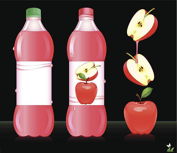 illustrazioni stock, clip art, cartoni animati e icone di tendenza di bottiglie di succo di mela. illustrazione vettoriale - fruit juice bottle isolated