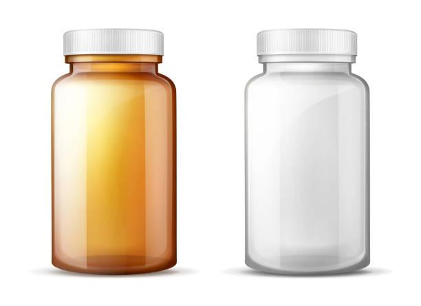 Flaschen für Medikamente realistische Vektor-Set – Vektorgrafik
