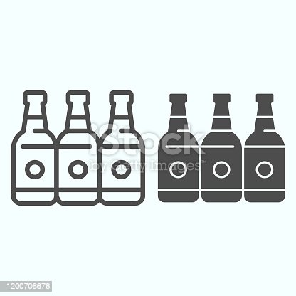 Bottles line and solid icon. Three empty glass bottles vector illustration isolated on white. Beer bottles outline style design, designed for web and app. Eps 10