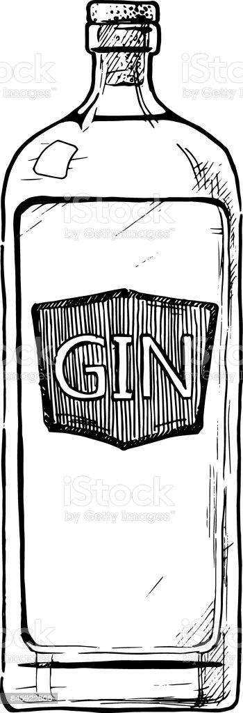 bottles of alcohol. Distilled beverage vector art illustration