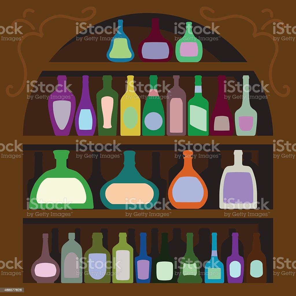 bottles of alcohol vector art illustration