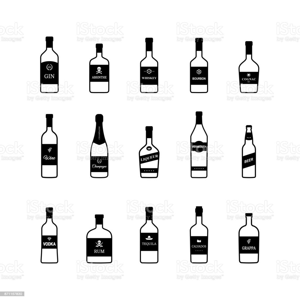 Bottles of alcoholic beverages black and white icons. Vector vector art illustration